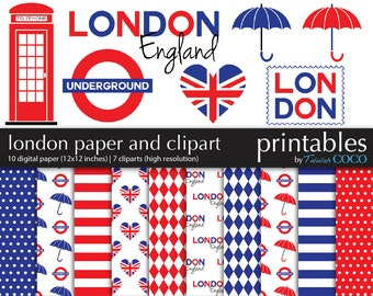 London Digital Paper Pack, England Clip art Digital Scrapbooking Kit, British Flag ClipArt, UK Digital Scrapbook Paper, London Scrapbook Kit
