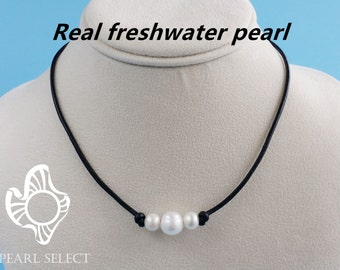 Leather pearl necklace,pearl leather necklace,freshwater pearl necklace,three pearl ncklace,real pearl necklace,floating pearl necklace