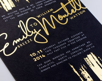 Wedding Invitation | Gold and Black, Gold Foil, Classic, Wedding Suite