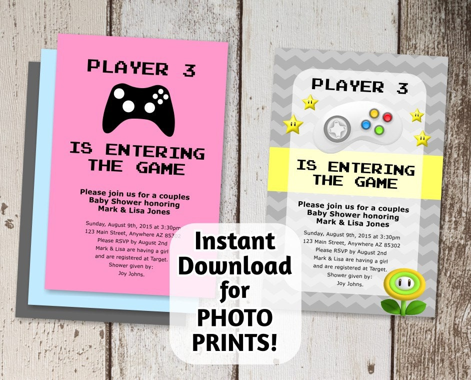 Video game invitation baby shower instant digital file download use for photo prints or for Instant download invitations