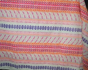 Printed Cotton Fabric in Abstract Geometric Print for fabric for kaftan beach cover up- Indian Fabric - Soft Cotton Fabric by Yard
