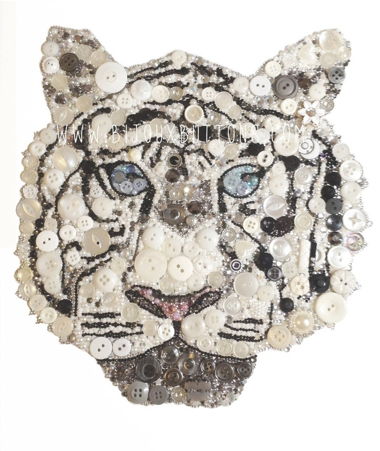 White Tiger Wall Art Africa Home Decor Button By