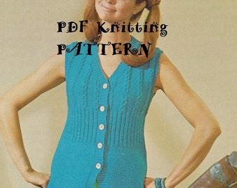 Knitting PDF Pattern, Vintage 70's Knitted Maverick Vest, Buttoned, Cables