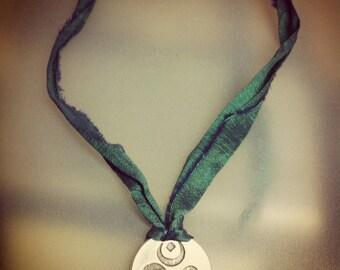Hanging Om hemp and sari silk ribbon #om #cñm #15 silver #10
