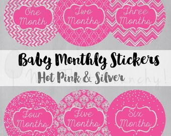 Pink Baby Monthly Growth Stickers - Milestone Bodysuit Stickers - Hot Pink and Silver Photo Stickers - Hot Pink Baby Month Stickers