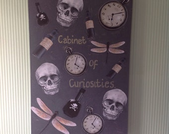 The cabinet of curiosities on a stretched deep edge canvas