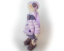 """Stuffed toy Easter bunny doll Emily Rabbit OOAK doll collectible toy 18"""" 46cm Rabbit Handmade Big soft toy Gift Cloth doll Bunny tilda lilac"""