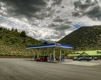 Mobile Gas Station, Mountains, Clouds, California, Yosemite, Inyo, NHRA, HDR, Truck, Green