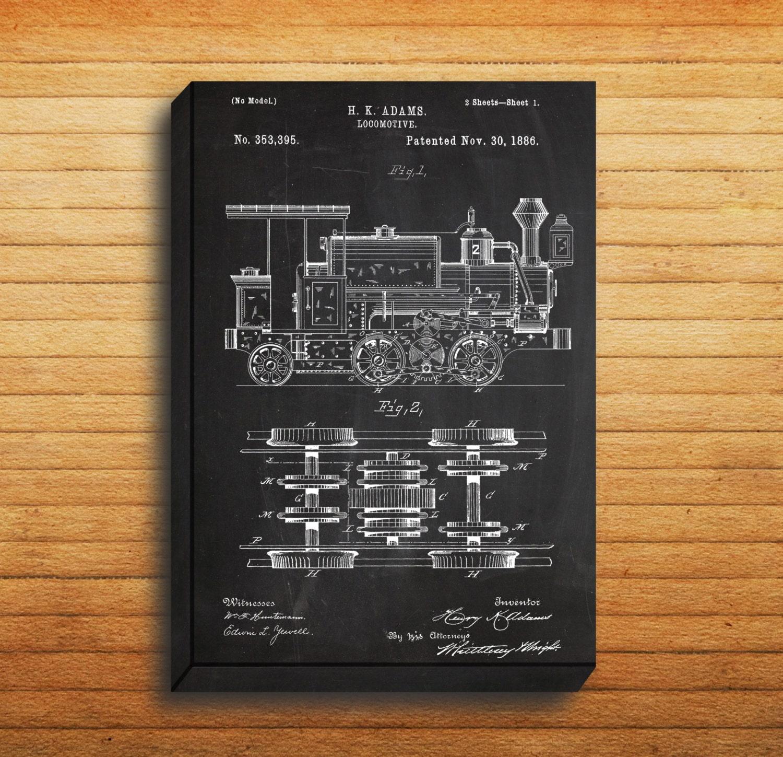Canvas locomotive train art locomotive print locomotive patent canvas locomotive train art locomotive print locomotive patent locomotive art locomotive blueprint locomotive train decor p196 malvernweather Gallery