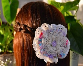 Fabric Flower Clip Crocheted Lace, Embroidery Anglais, Floral Fabric and Ribbon Rose Flower Clip Lilac