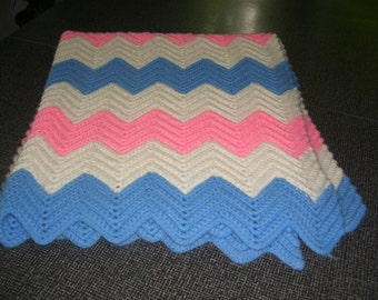 Crocheted Baby Afghan  Baby Blanket  Pink Blue White Afghan Vintage 70s
