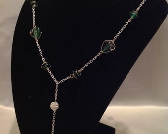 Green Dangling Heart Necklace