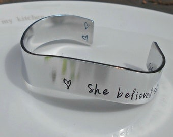 Inspirational Bracelet|She Believed She Could So She Did|Gifts for her|Daughter Gift|Inspirational Jewellery|Friend Gift.