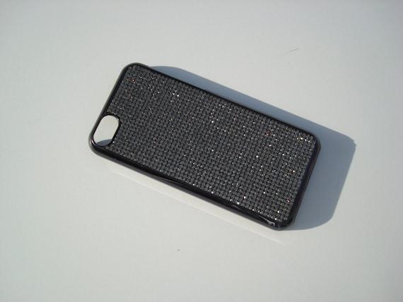 iPhone 5C Black Diamond Rhinestone Crystals on Black Chrome Case. Velvet/Silk Pouch Bag Included, Genuine Rangsee Crystal Cases.