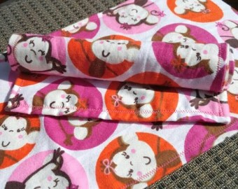 Set of 2, Silly Monkey Burp Cloths.