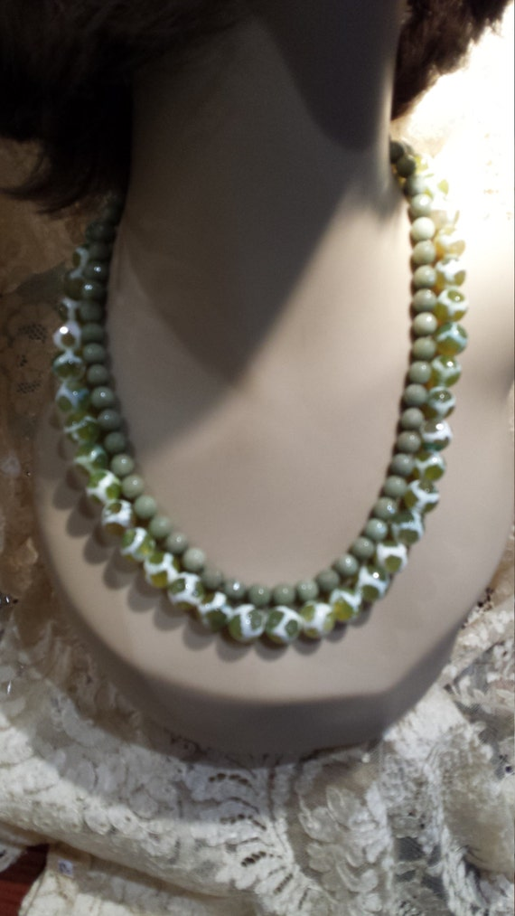 Two strand beaded necklace made with faceted jade and painted jasper