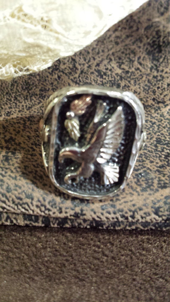 Sterling silver and 12k eagle ring