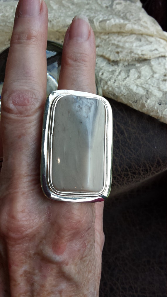 Sterling silver ring large petrified pinewood stone