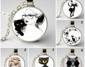 Black/white Cat Necklace Mod Black Cat, steampunk Art pendant, Pet Necklace, Cute Black Cat Jewellery Love Cat Necklace Resin Animal Jewelry