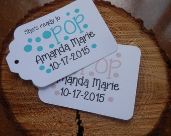 She's Ready to Pop baby shower favor tags custom baby tags Thank You tags sets of 20
