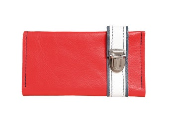 Colorful leather wallet of HAEUTE, 9 credit card slots, wallet made in Germany