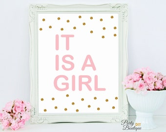 Gold Polka Dot Baby Shower Decoration, Its a Girl Sign, Welcome Baby Girl, DIY Party Decor, It's a Girl, jpg INSTANT DOWNLOAD