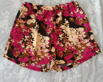 Handmade pink floral high waisted shorts. Size uk 8 and 10 only. sample sale!