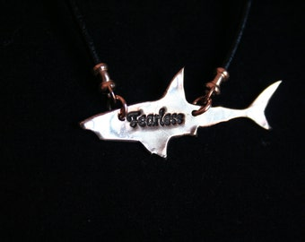 Shark with FEARLESS on it