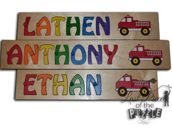 Personalized Wooden Name Puzzle With A Fire Truck id231244084
