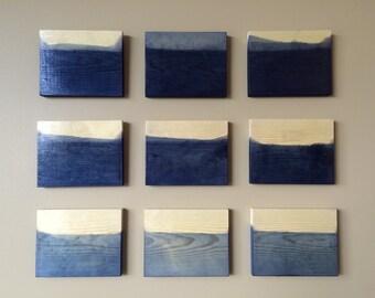 Original Dip Dye, Modern, Wood Sculpture, Wood Art, Wall Art, Painted Wood Wall Sculpture Installation Custom Art