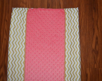 Coral and Gold Changing Pad Cover | Changing Pad Cover | Gold Nursery | Chevron Changing Pad Cover | Minky Dot Changing Cover | Gold | Coral