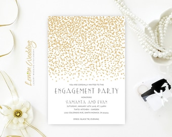 Engagement Invitations Cheap | Gold Stars Engagement Invitations printed on luxury shimmer paper | Customized engagement invitations