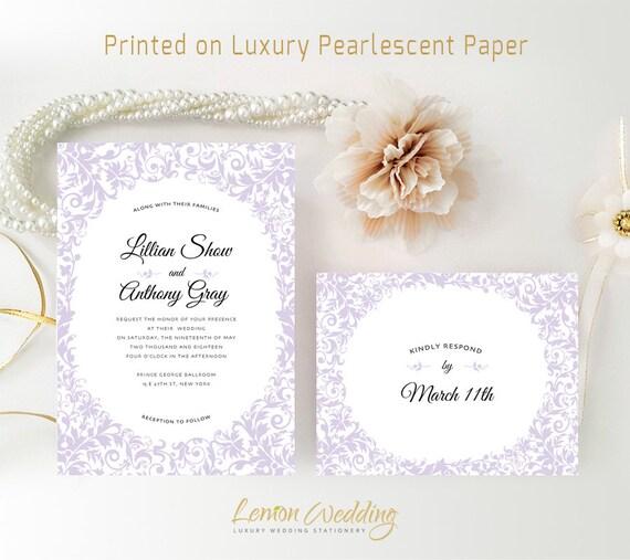 Purple Wedding Invitations With RSVP Cards Printed By LemonWedding