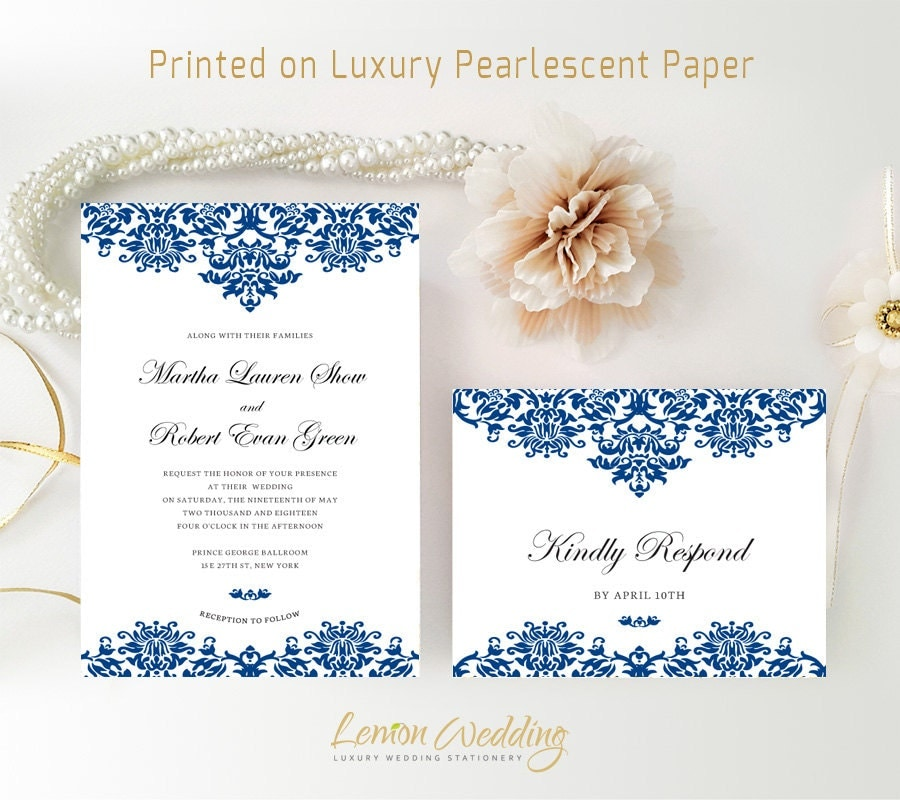 Royal Blue Wedding Invitation Kits Printed On Shimmer Paper