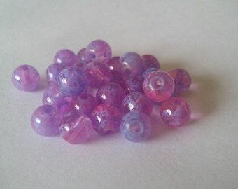 6mm Purple Lampwork Glass Beads