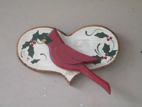 Christmas Decorations Red Birds : Wood christmas decor red bird by oldgoshenprimitives