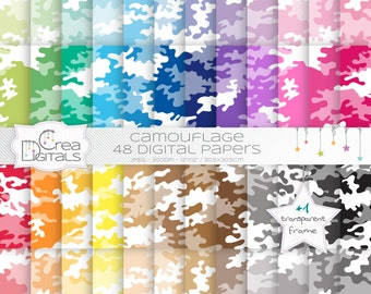 Camouflage rainbow paper pack - 48 digital papers - INSTANT DOWNLOAD