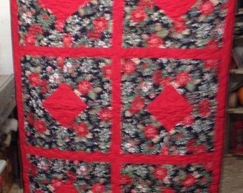 Red Christmas Couch Quilt