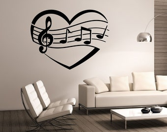 i heart music wall decal vinyl sticker art decor bedroom design mural interior design music notes - Design Wall Decal