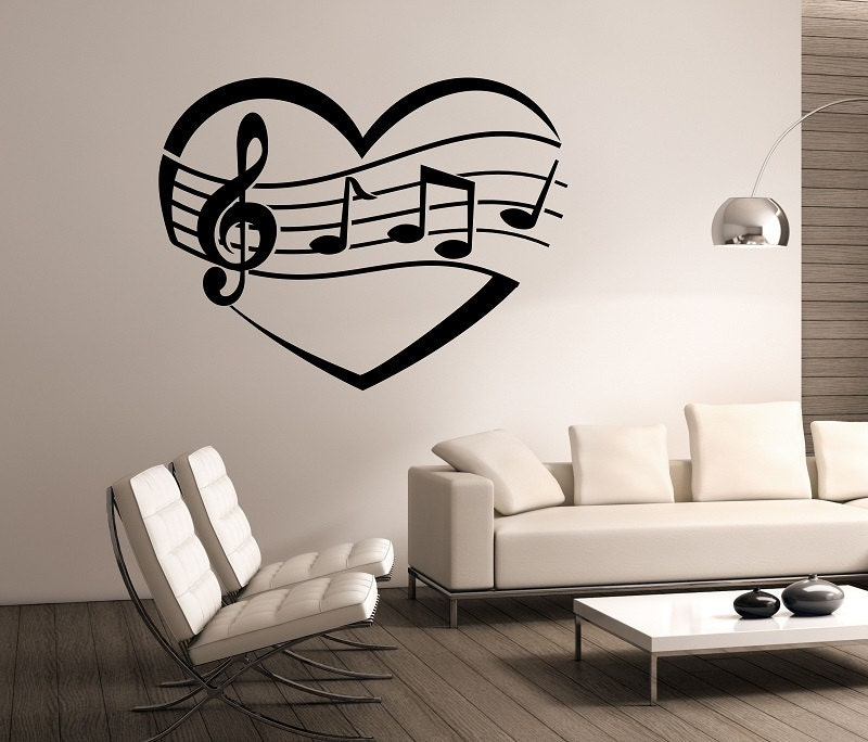 Great I Heart Music Wall Decal Vinyl Sticker Art Decor Bedroom Design Mural  Interior Design Music Notes Part 26