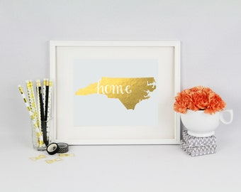 North Carolina Home State Collection Foil Pressed Print