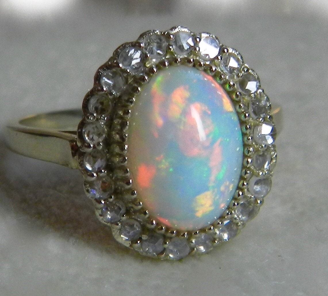 Opal Engagement Rings: Antique Opal Ring 1.50 Carat Fine Opal Engagement Ring