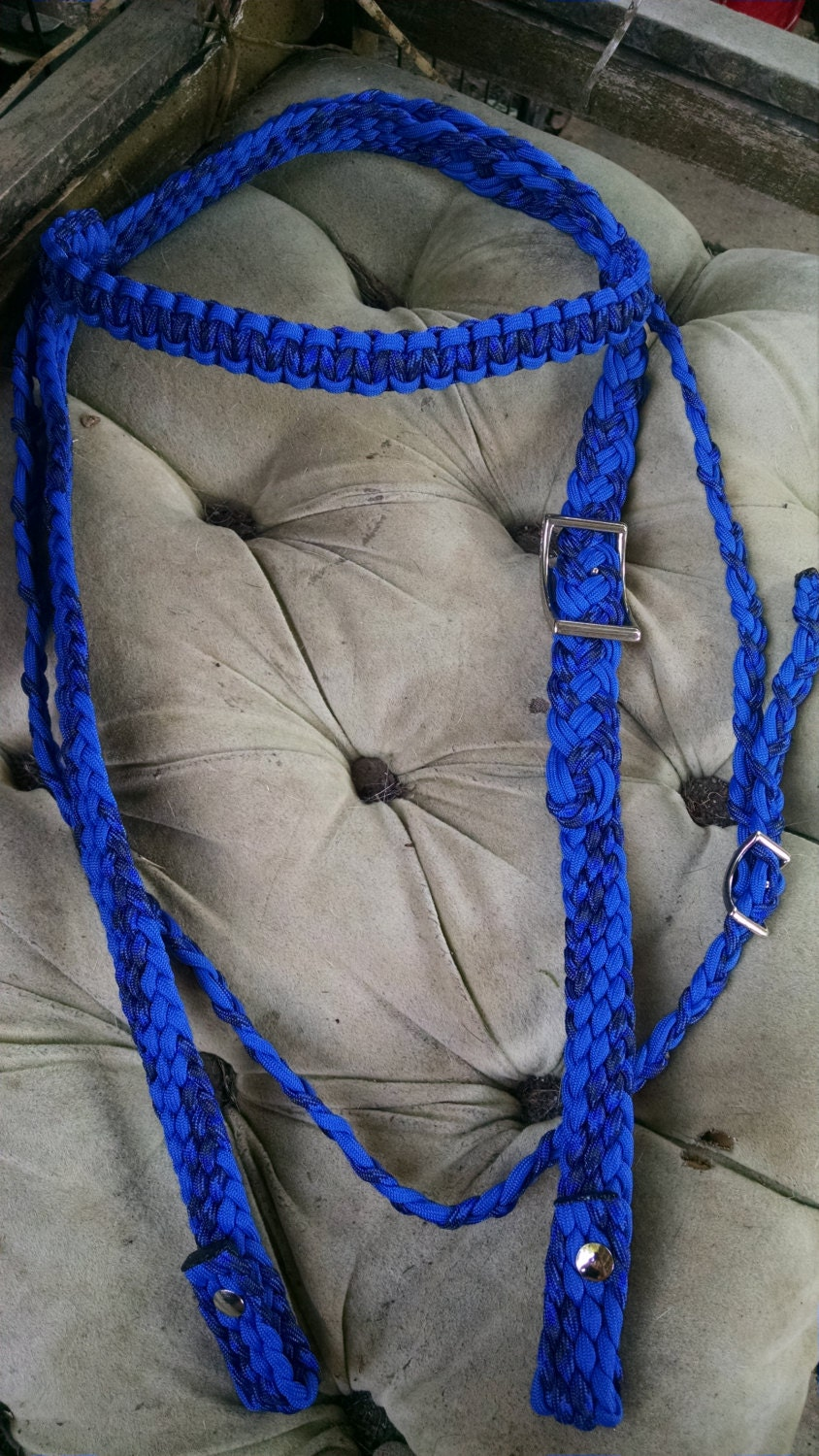 Horse tack paracord bridle barrel reins by for Paracord horse bridle
