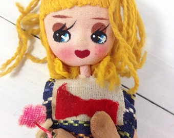 Vintage Cloth/ Stockinette Doll- Bendable Wire & Big Eyes