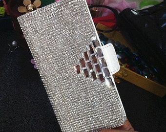 New Luxury Flip Slot Cards Holder Silver Gems Wallet Leather Crystals Rhinestones Diamonds Gems Lovely Fashion Cover Case for Mobile Phones