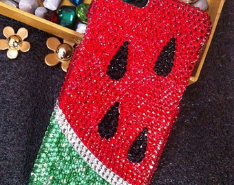 New Bling Red Watermelon Lovely Fashion Sparkles Charms Glossy Jewelled Crystals Rhinestones Diamonds Gems Hard Cover Case for Mobile Phone