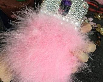 New Baby Pink Bling Soft Fluffy Fur Furry Bling Luxury Lovely Fashion Jewelled Crystals Rhinestones Diamonds Gems Hard Case for Mobile Phone