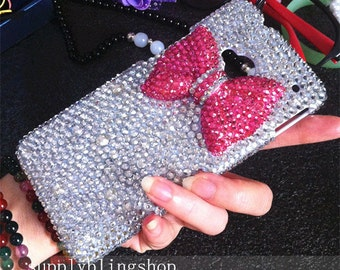Bling New Pink Bow Luxury Lovely Fashion Sparkles Glossy Unique Jewelled Crystals Rhinestones Diamonds Gems Hard Cover Case for Mobile Phone