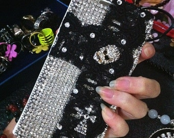 New Bling Luxury Flip Slot Cards Holder Silver Gems Black Lace Metal Skull Wallet Leather Crystals Rhinestone Case for Various Mobile Phones