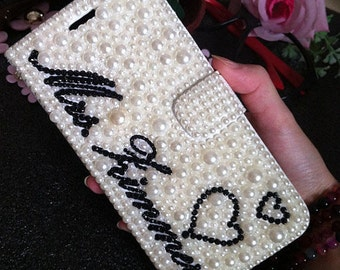 Unique Diy Custom Name Bling Luxury Flip Slot Cards Holder Pearls Lovely Heart Gems Wallet Leather Crystals Rhinestone Case for Mobile Phone